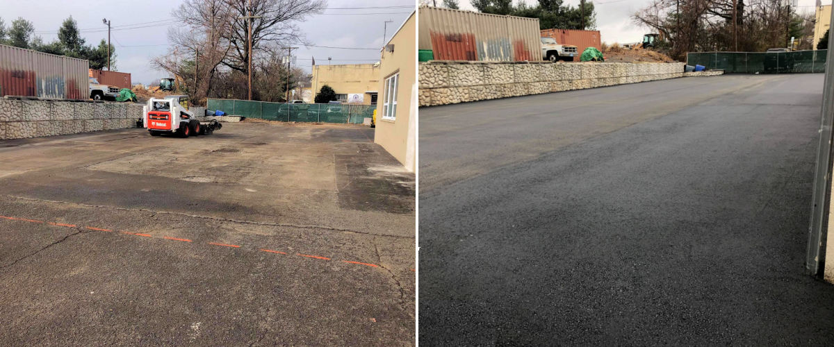 Asphalt Parking Lot Installation Graded to a Compound .75% Slope. Our Paving Equipment has State of the Art Sonic Laser Automated Grade Control (Mountainside, NJ)